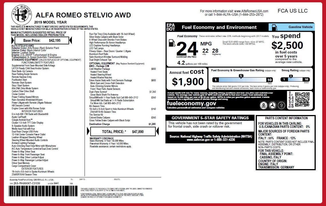New 2019 Alfa Romeo Stelvio Q4 For Sale In Westport, CT 2759_p21