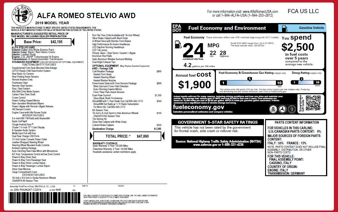New 2019 Alfa Romeo Stelvio Q4 For Sale In Westport, CT 2819_p20