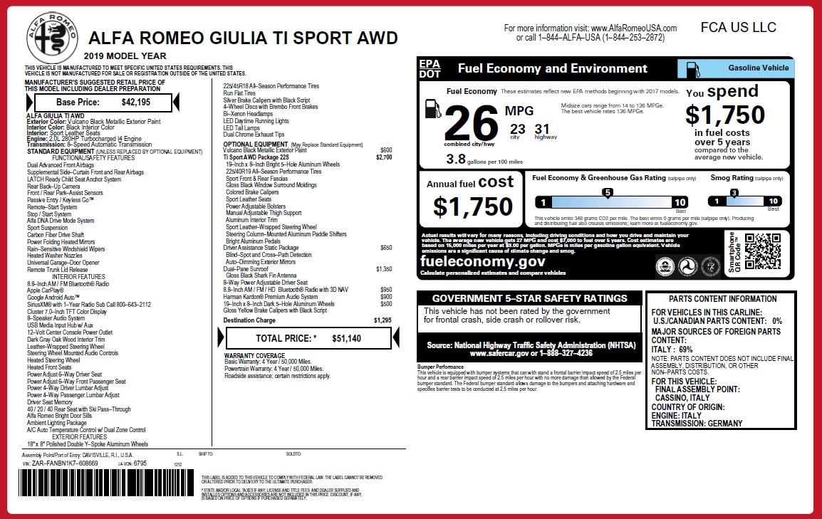 New 2019 Alfa Romeo Giulia Ti Sport Q4 For Sale In Westport, CT 2840_p26