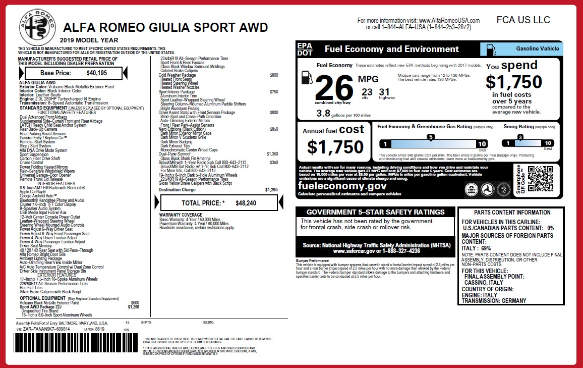 New 2019 Alfa Romeo Giulia Sport Q4 For Sale In Westport, CT 2891_p24
