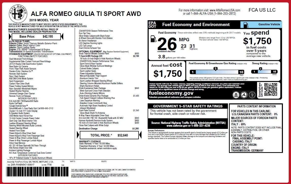 New 2019 Alfa Romeo Giulia Ti Sport Q4 For Sale In Westport, CT 2895_p2
