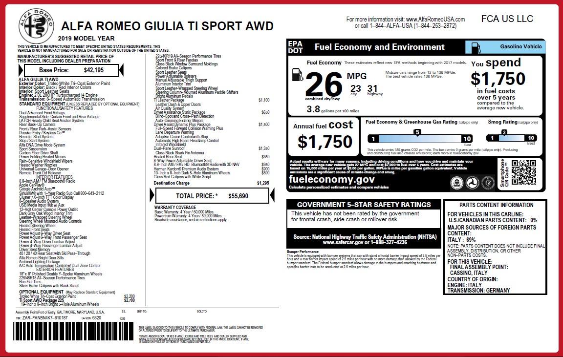 New 2019 Alfa Romeo Giulia Ti Sport Q4 For Sale In Westport, CT 2896_p31