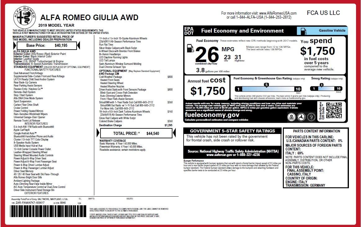 New 2019 Alfa Romeo Giulia Q4 For Sale In Westport, CT 2906_p20