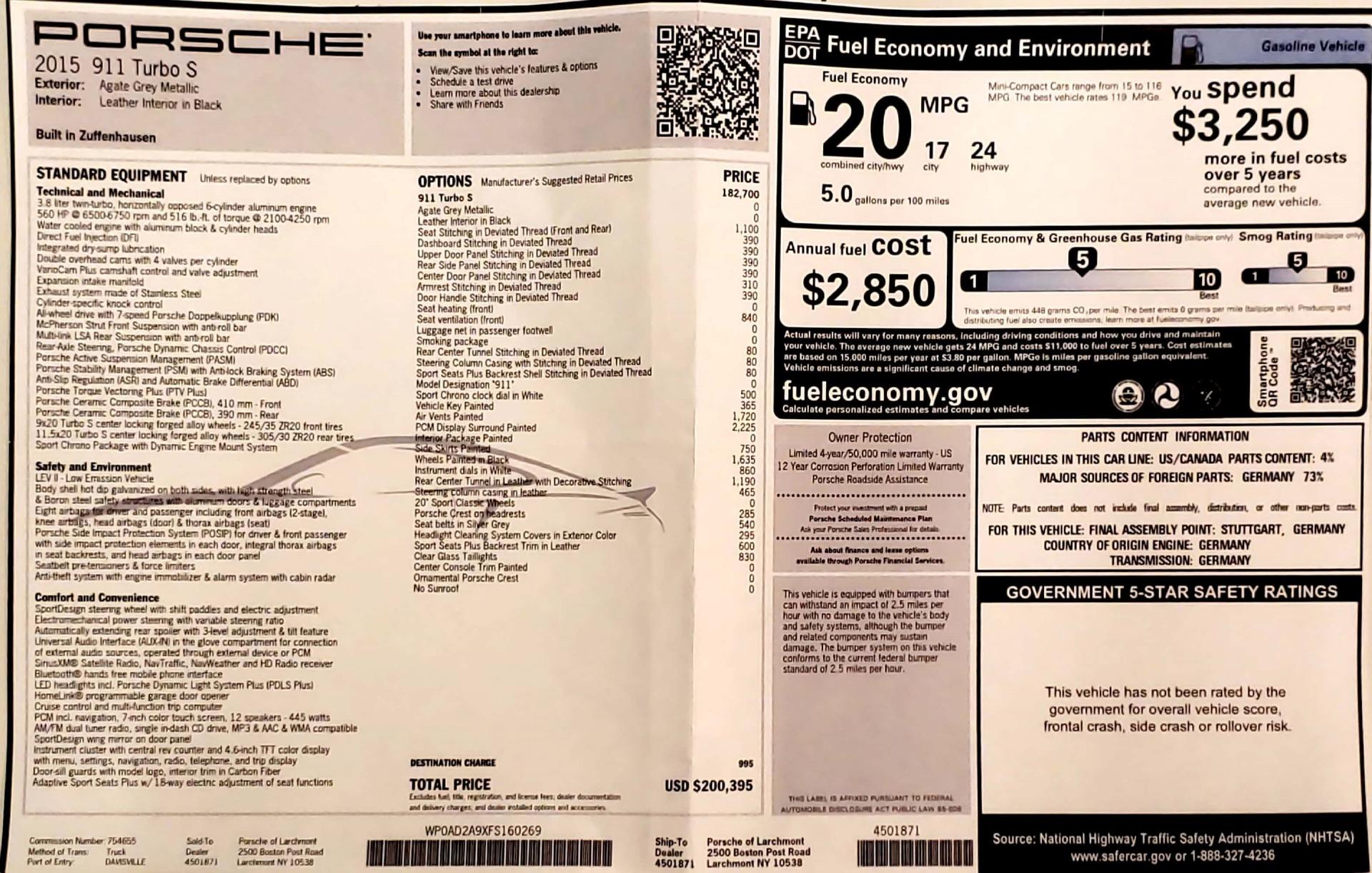 Used 2015 Porsche 911 Turbo S For Sale In Westport, CT 2923_p22