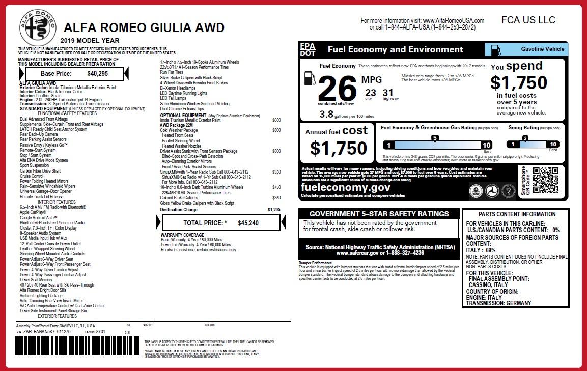 New 2019 Alfa Romeo Giulia Q4 For Sale In Westport, CT 2947_p21