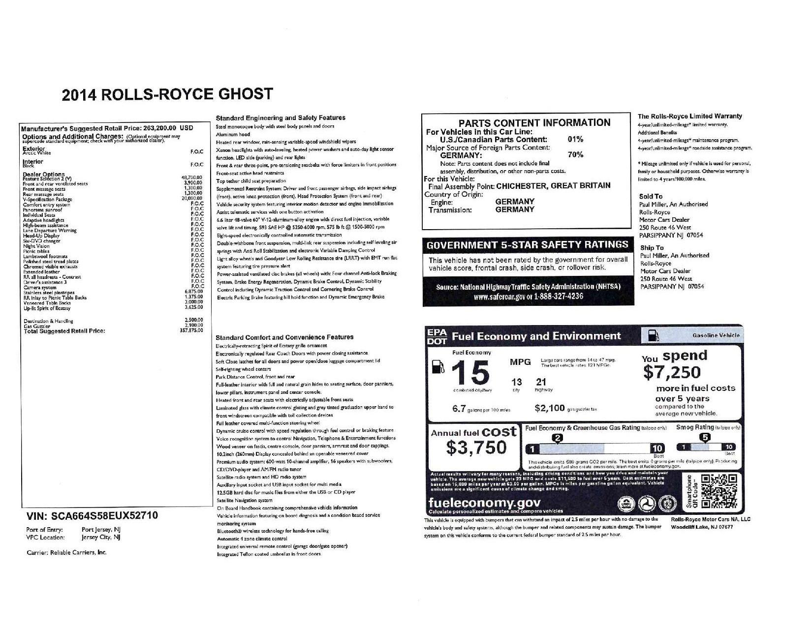 Used 2014 Rolls-Royce Ghost V-Spec For Sale In Westport, CT 2989_p31