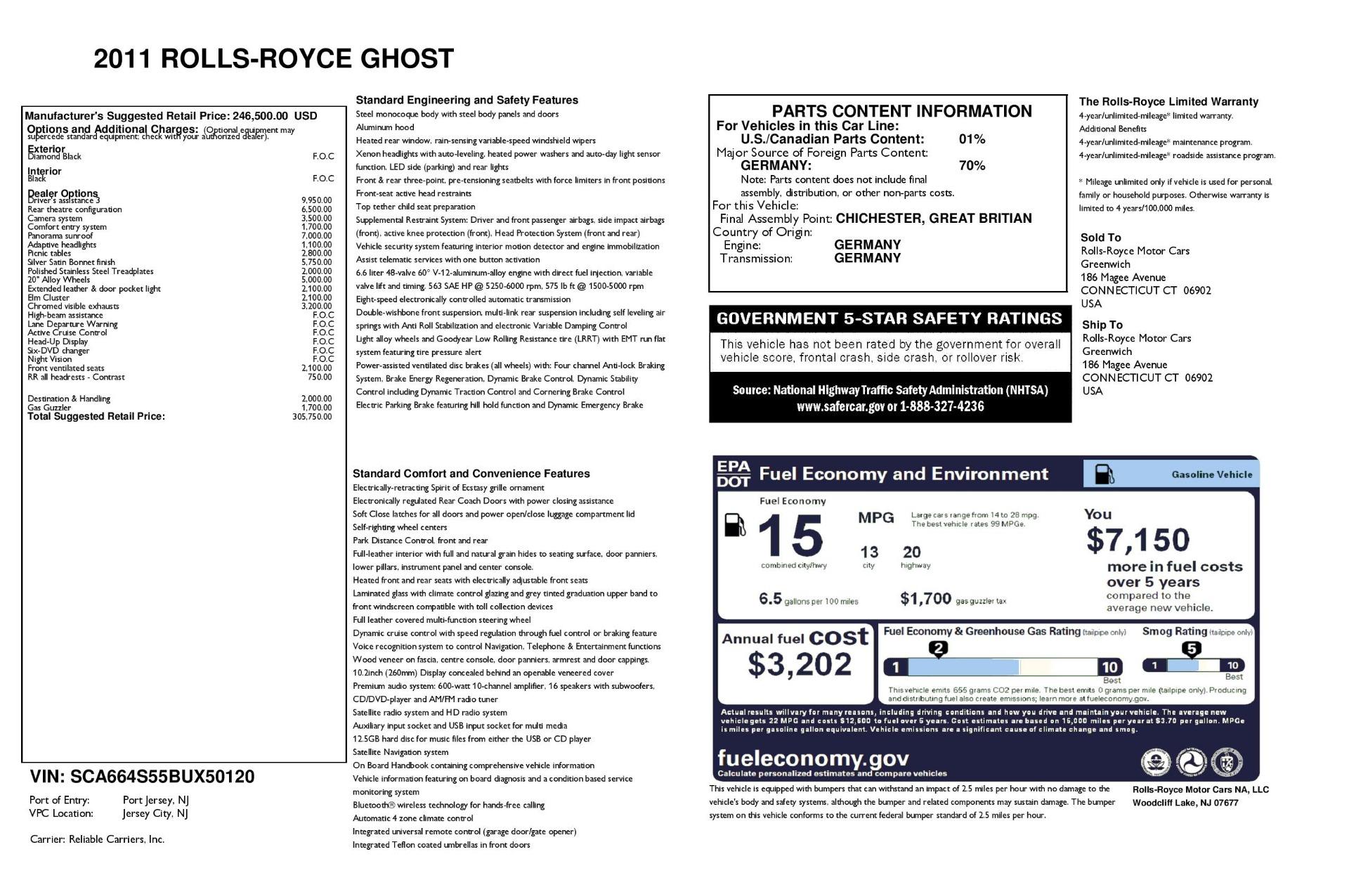Used 2011 Rolls-Royce Ghost  For Sale In Westport, CT 2994_main