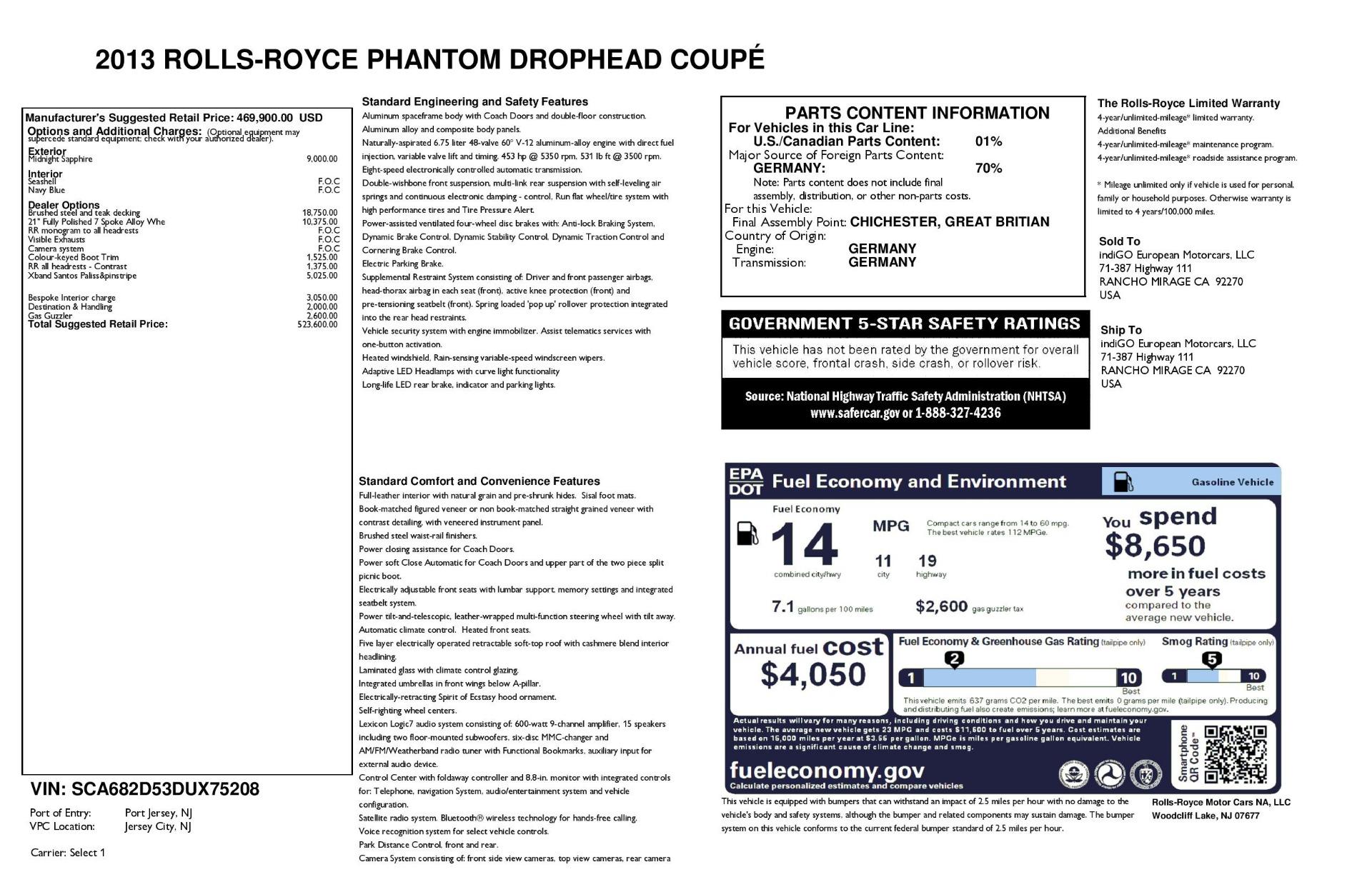 Used 2013 Rolls-Royce Phantom Drophead Coupe  For Sale In Westport, CT 2999_p58