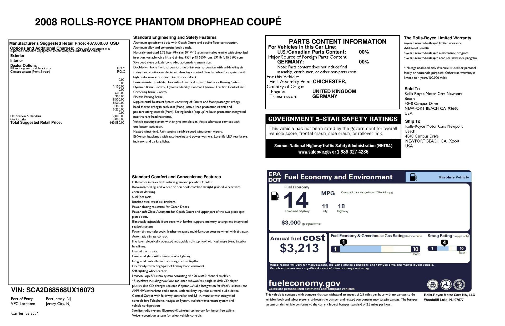 Used 2008 Rolls-Royce Phantom Drophead Coupe  For Sale In Westport, CT 3000_p44
