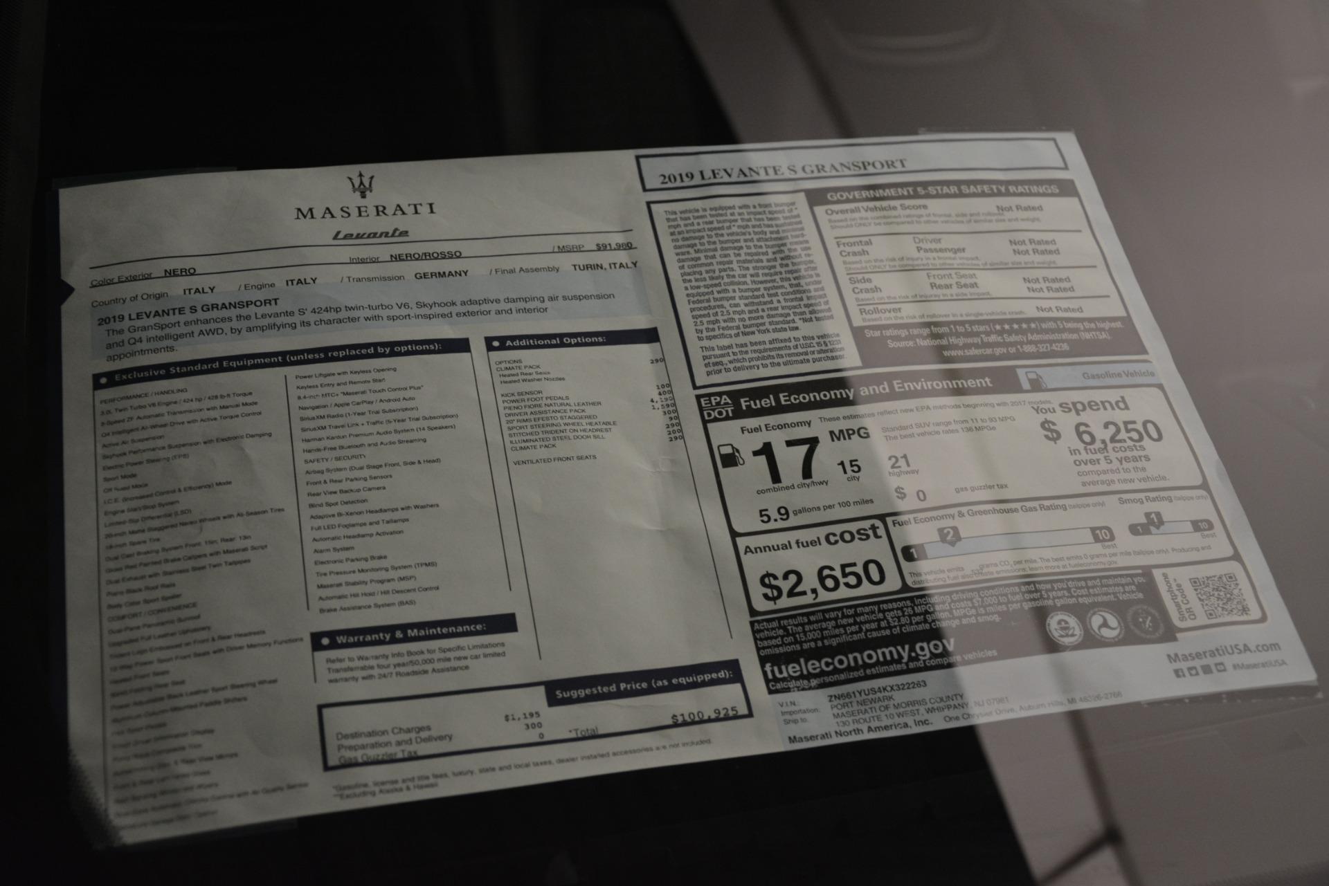 New 2019 Maserati Levante S Q4 GranSport For Sale In Westport, CT 3034_p31
