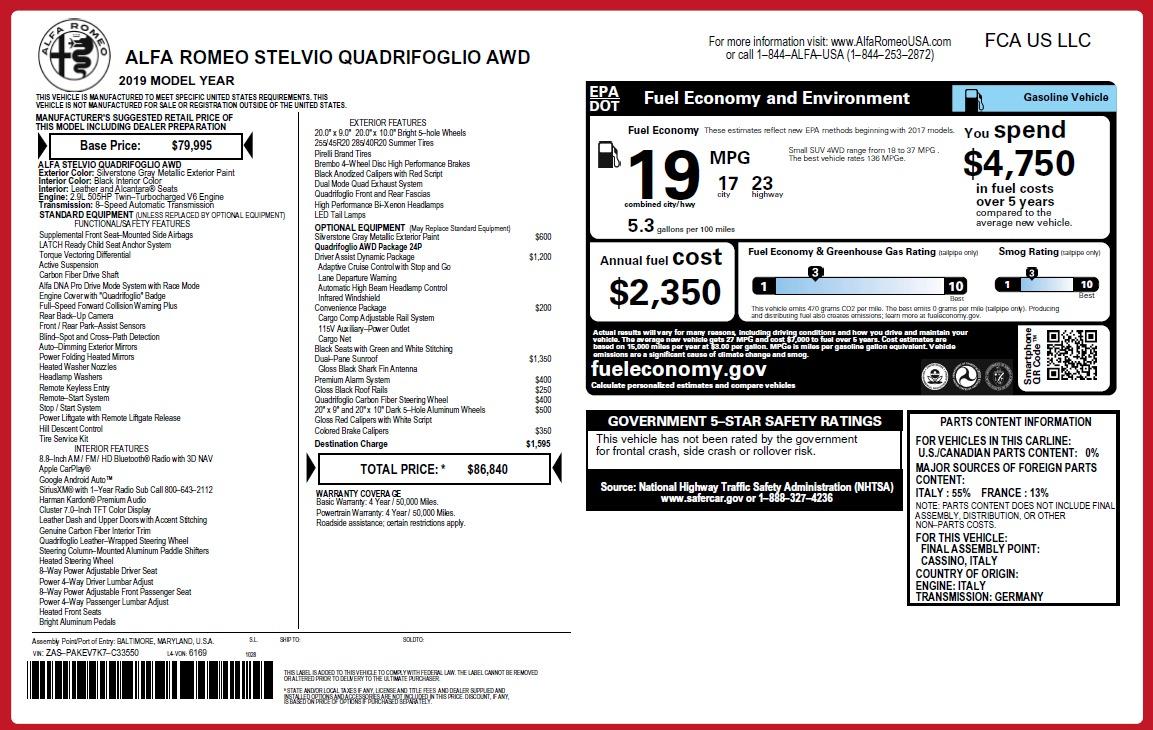 New 2019 Alfa Romeo Stelvio Quadrifoglio For Sale In Westport, CT 3039_p38