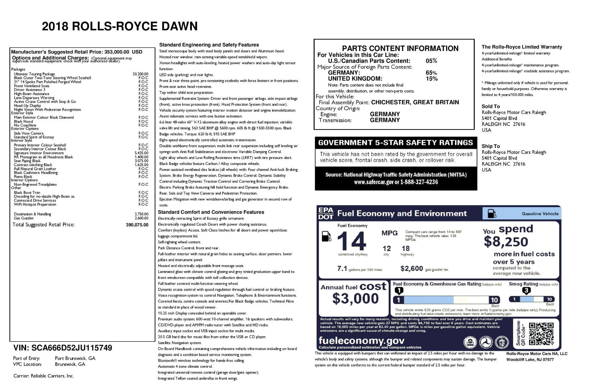 Used 2018 Rolls-Royce Dawn  For Sale In Westport, CT 3044_p51