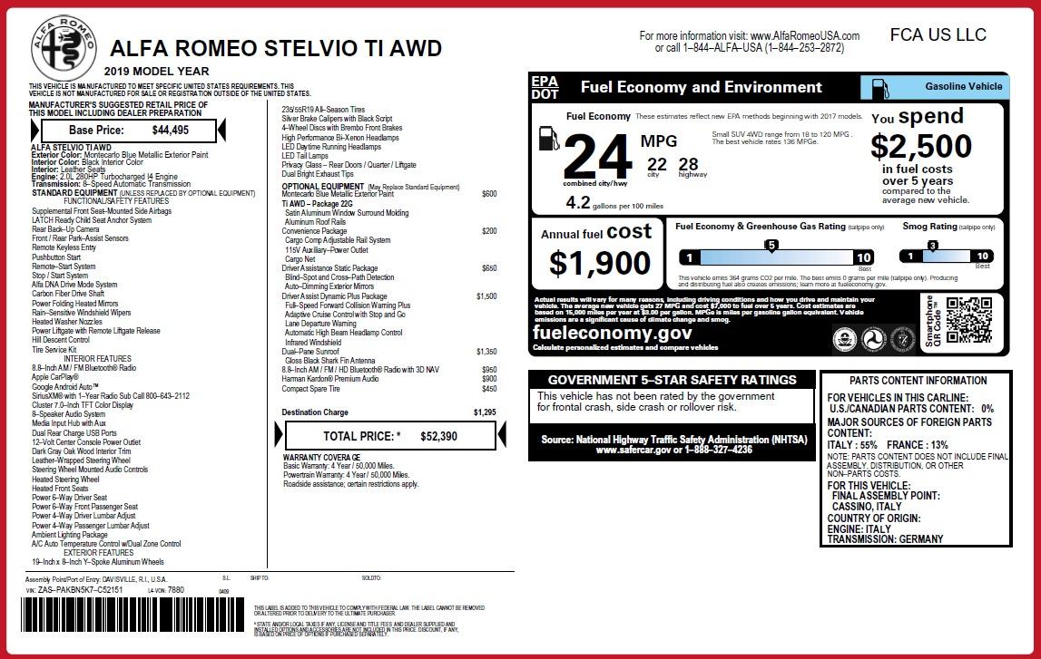 New 2019 Alfa Romeo Stelvio Ti Q4 For Sale In Westport, CT 3067_p2