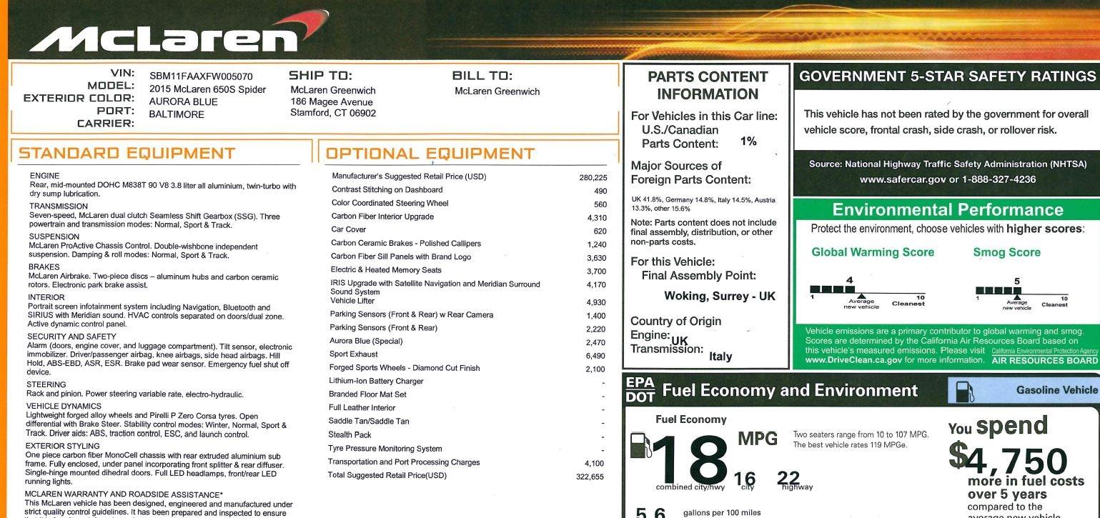 Used 2015 McLaren 650S Spider Convertible For Sale In Westport, CT 3112_p29