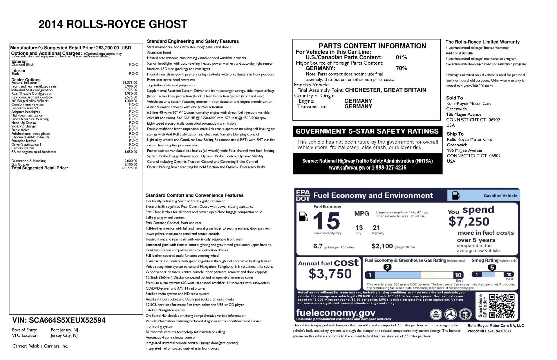 Used 2014 Rolls-Royce Ghost  For Sale In Westport, CT 3220_p29