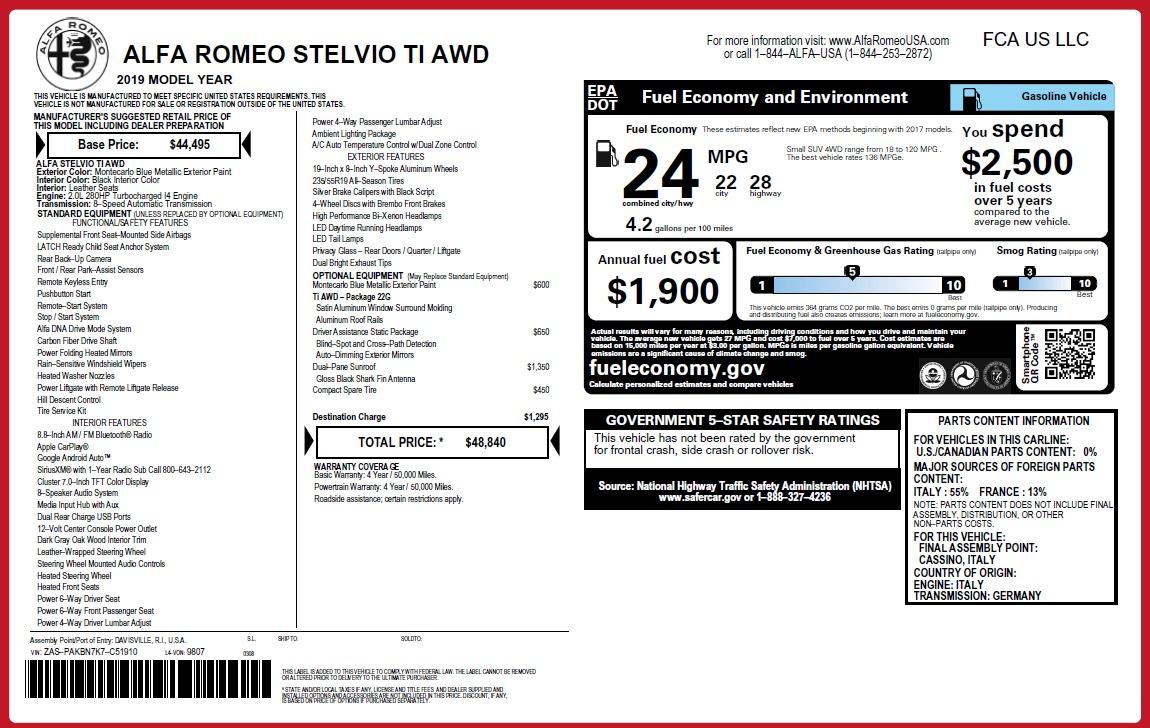 New 2019 Alfa Romeo Stelvio Ti Q4 For Sale In Westport, CT 3258_p2