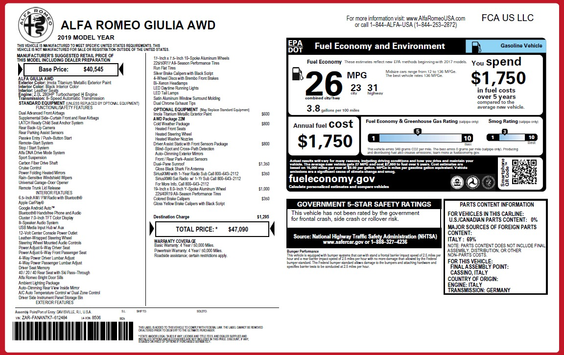 New 2019 Alfa Romeo Giulia Q4 For Sale In Westport, CT 3277_p2