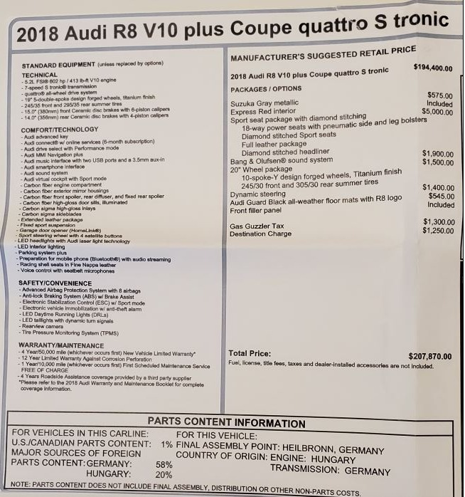 Used 2018 Audi R8 5.2 quattro V10 Plus For Sale In Westport, CT 3360_p27