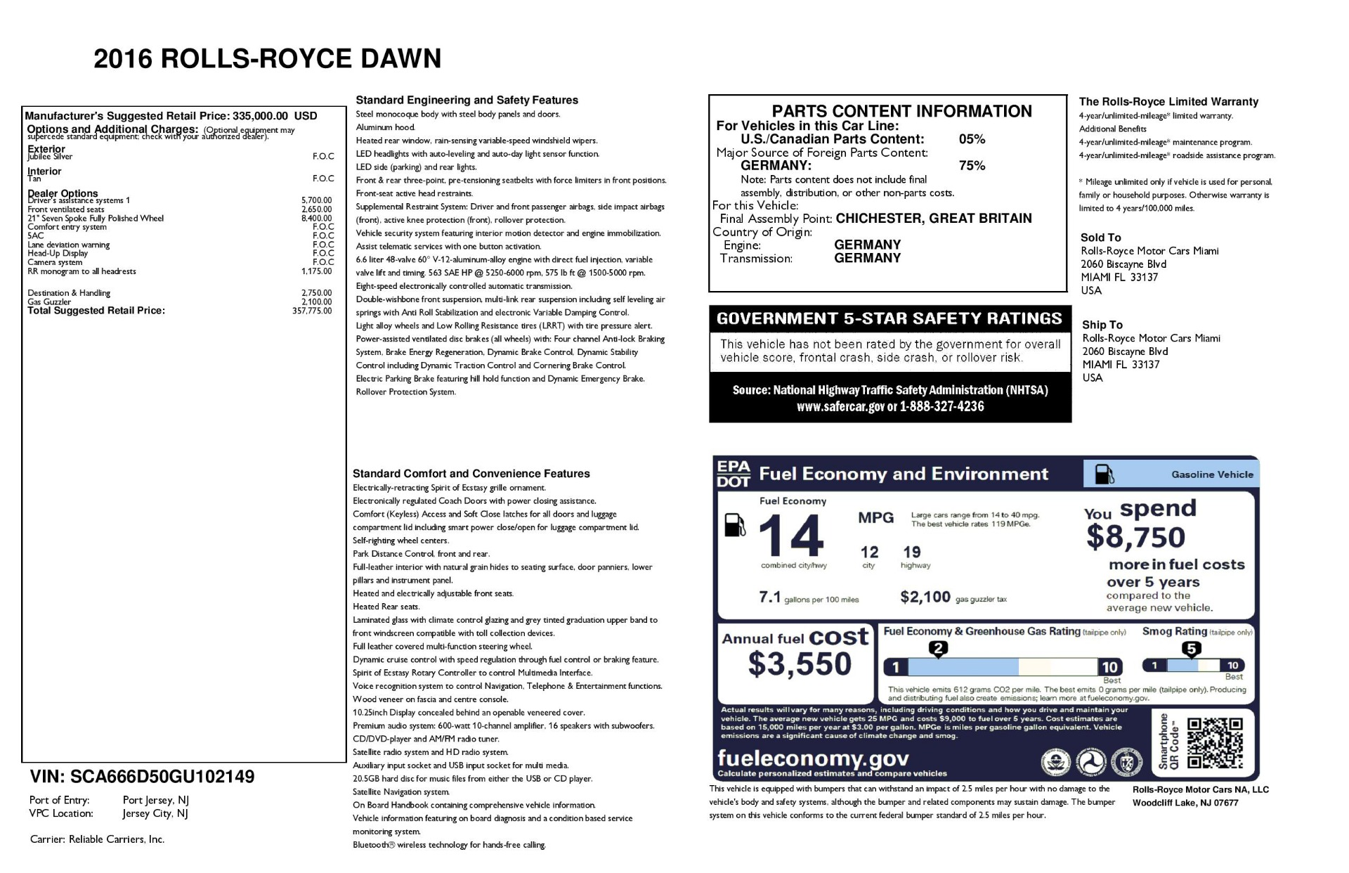 Used 2016 Rolls-Royce Dawn  For Sale In Westport, CT 3373_p41