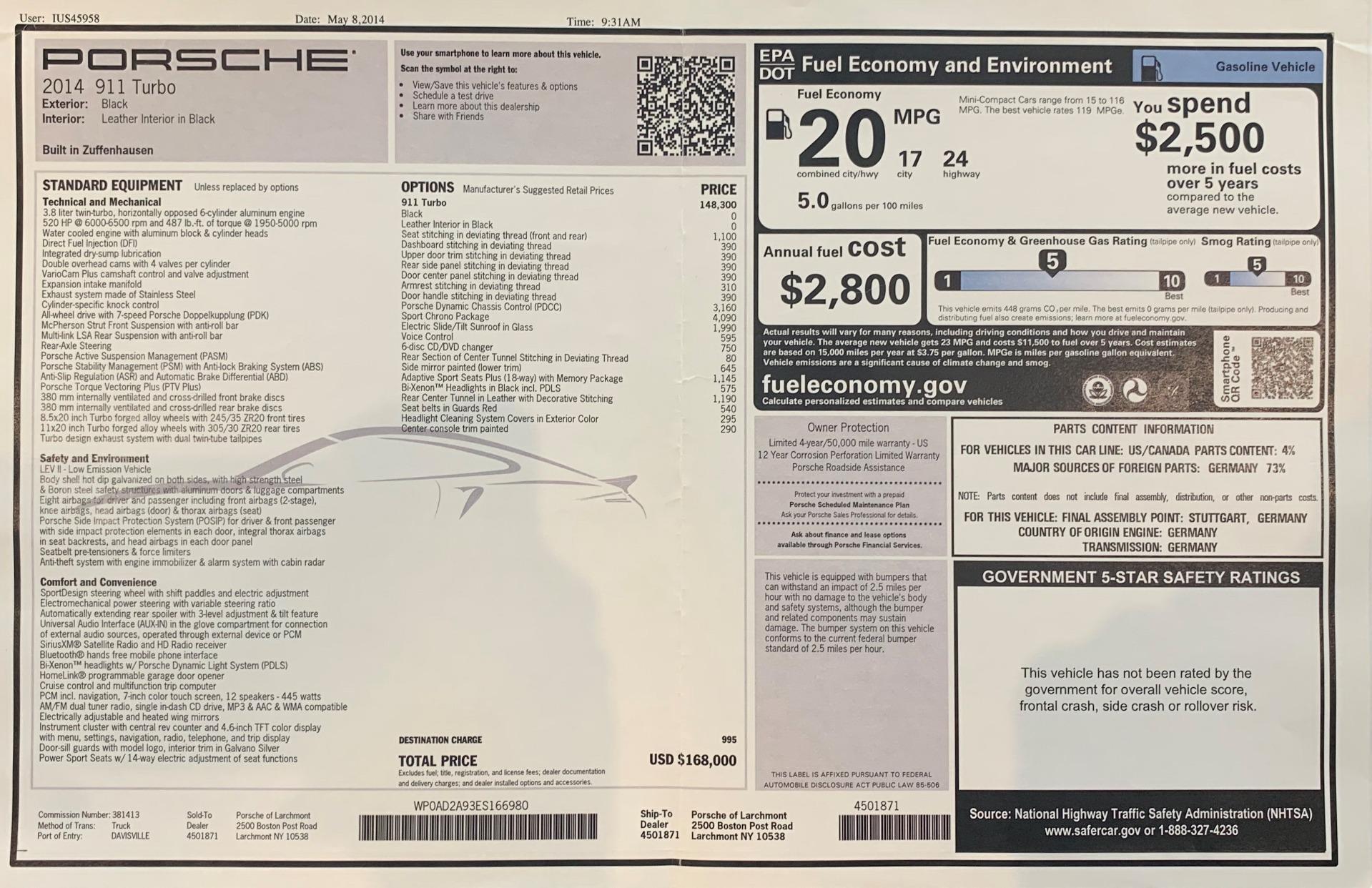 Used 2014 Porsche 911 Turbo For Sale In Westport, CT 3382_p27