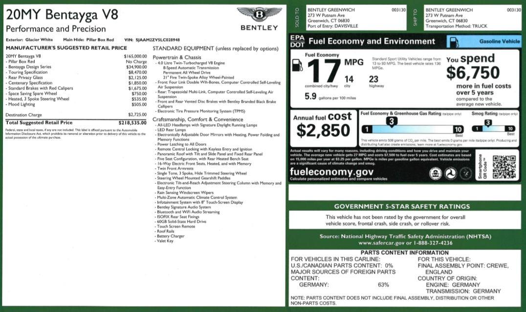 New 2020 Bentley Bentayga V8 Design Series For Sale In Westport, CT 3414_p32