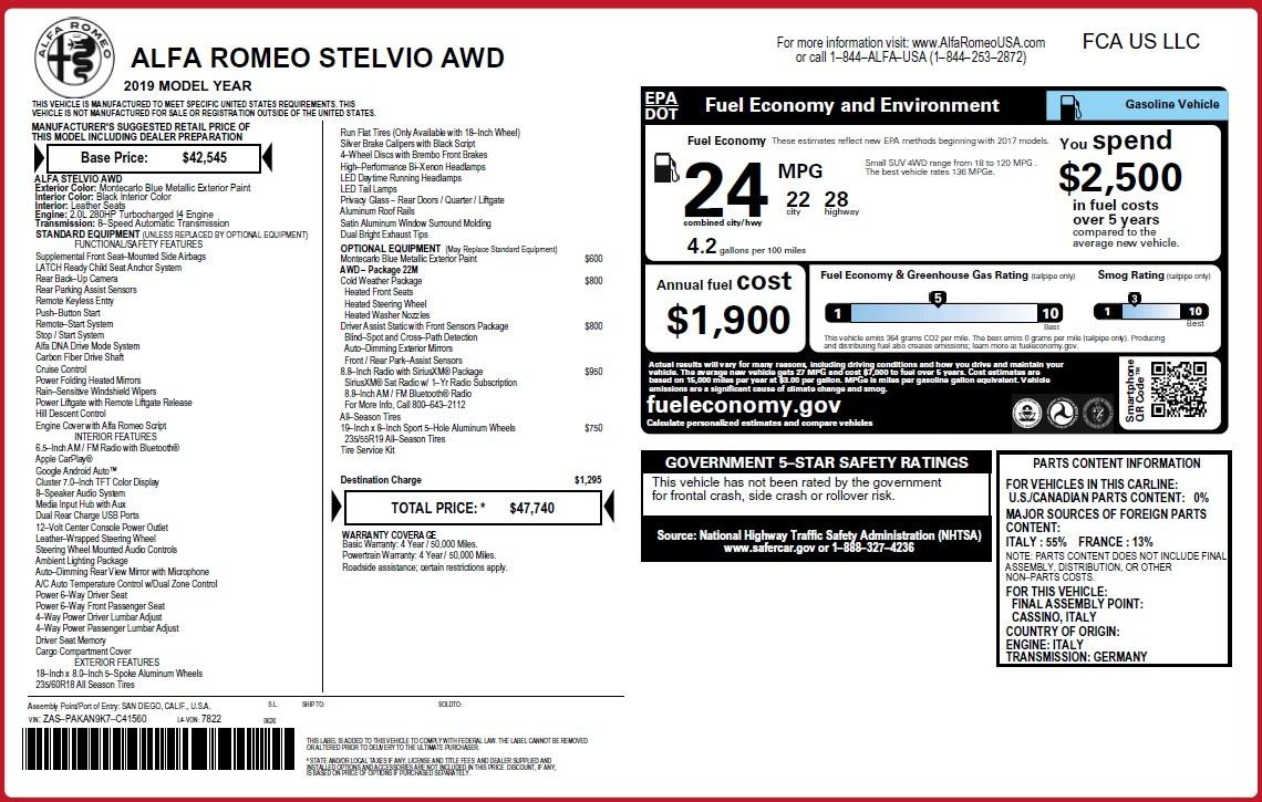 New 2019 Alfa Romeo Stelvio Q4 For Sale In Westport, CT 3423_p2