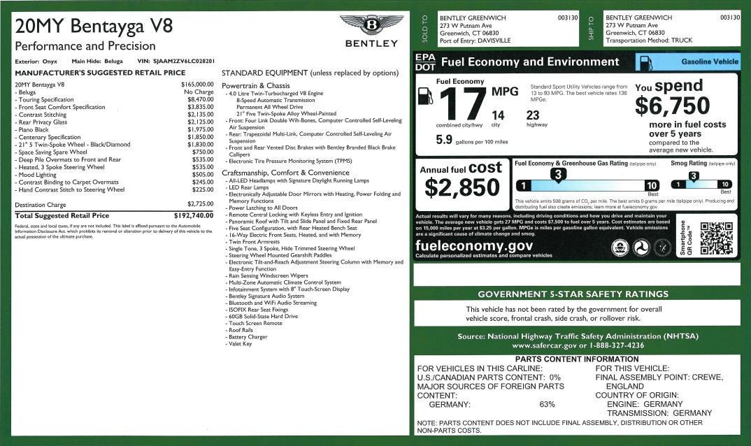 New 2020 Bentley Bentayga V8 For Sale In Westport, CT 3425_p32
