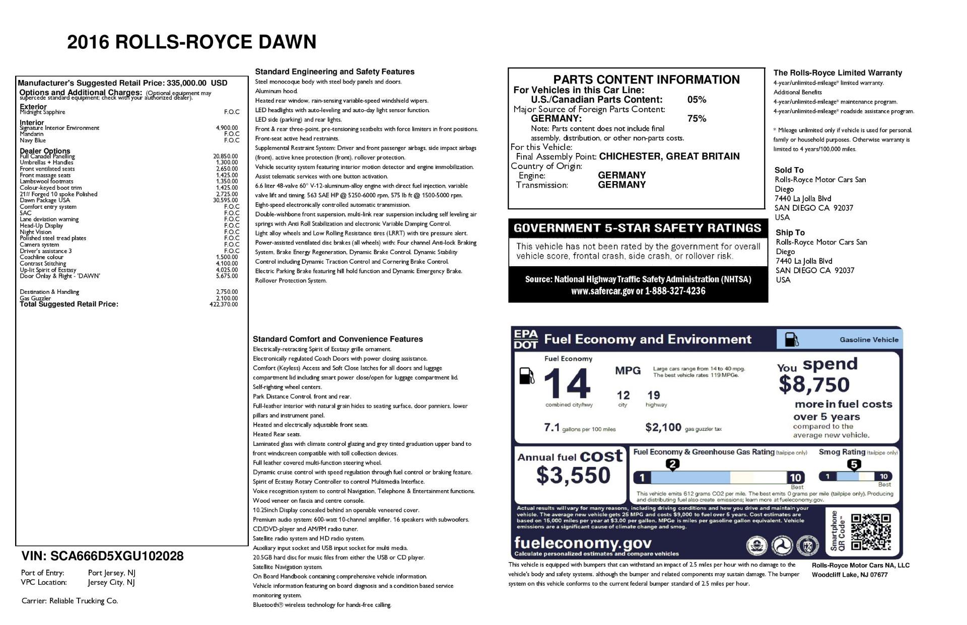 Used 2016 Rolls-Royce Dawn  For Sale In Westport, CT 3430_p41