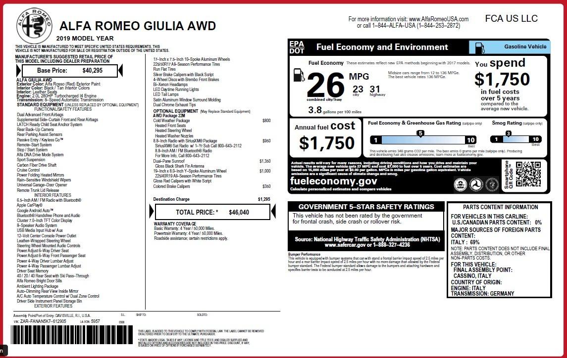 New 2019 Alfa Romeo Giulia Q4 For Sale In Westport, CT 3436_p2