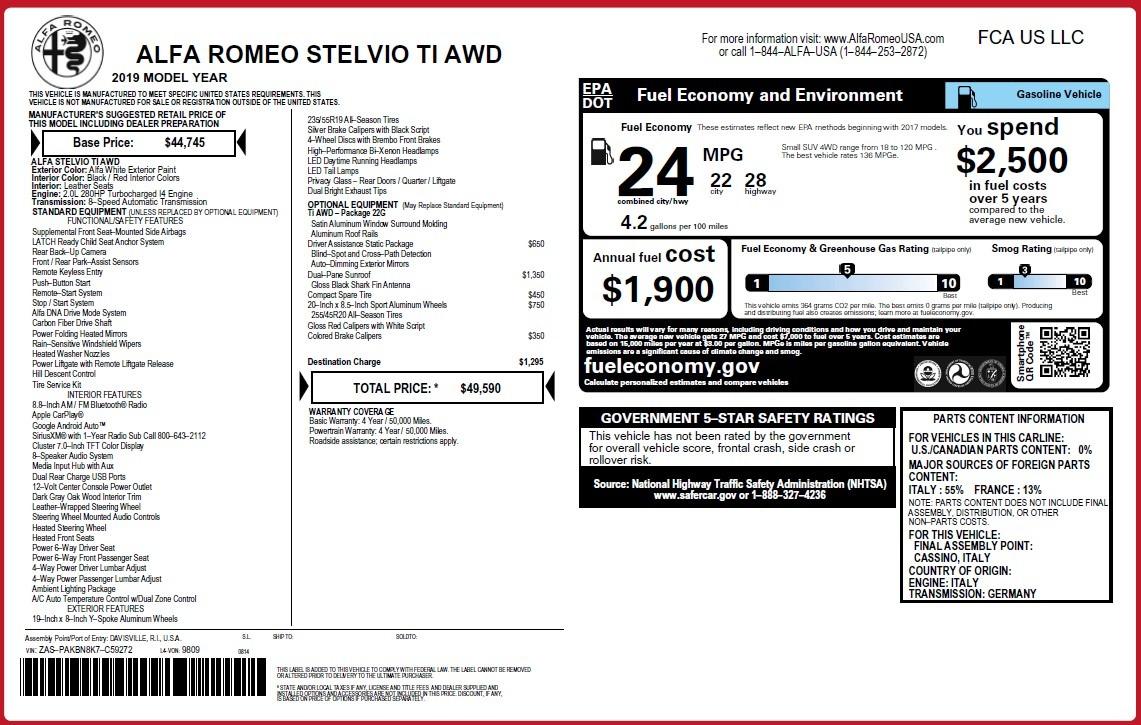 New 2019 Alfa Romeo Stelvio Ti Q4 For Sale In Westport, CT 3438_p31