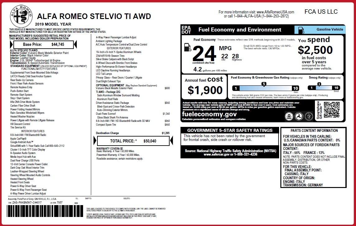 New 2019 Alfa Romeo Stelvio Ti Q4 For Sale In Westport, CT 3439_p31