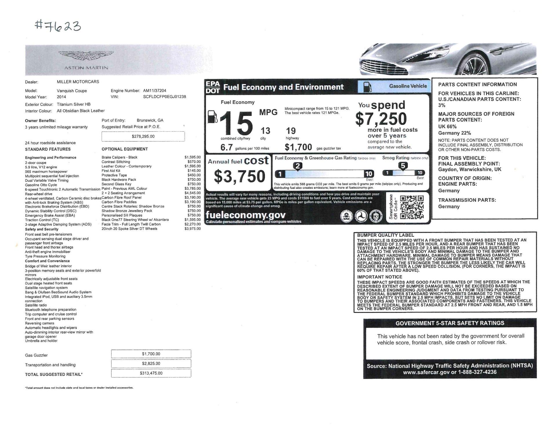 Used 2014 Aston Martin Vanquish  For Sale In Westport, CT 3445_p20