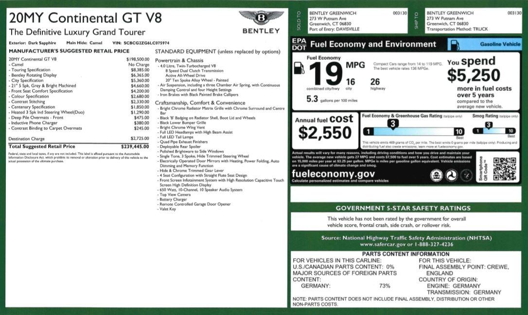 New 2020 Bentley Continental GT V8 For Sale In Westport, CT 3456_p31