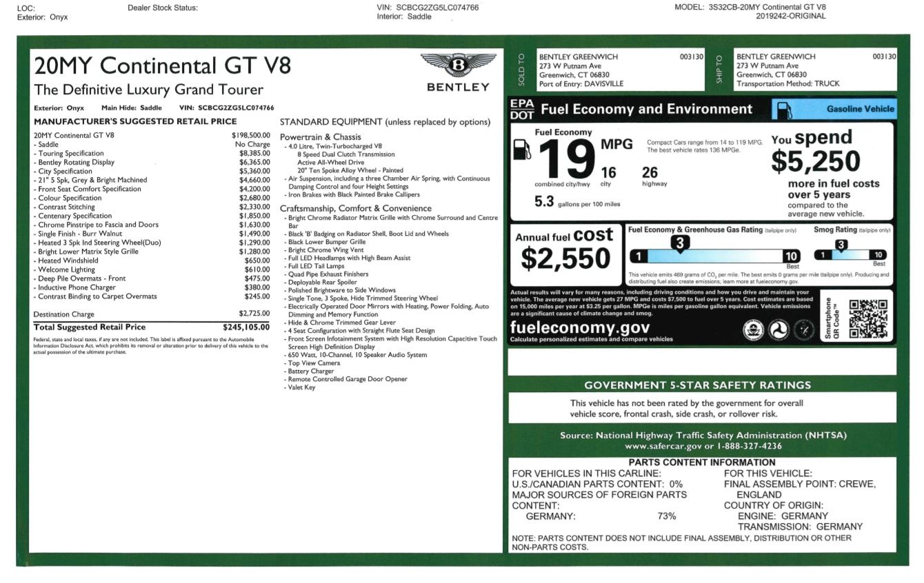 Used 2020 Bentley Continental GT V8 For Sale In Westport, CT 3460_p29