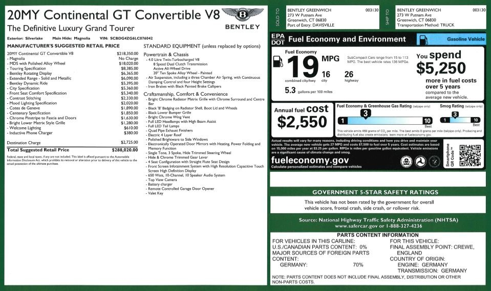 Used 2020 Bentley Continental GTC V8 For Sale In Westport, CT 3472_p37