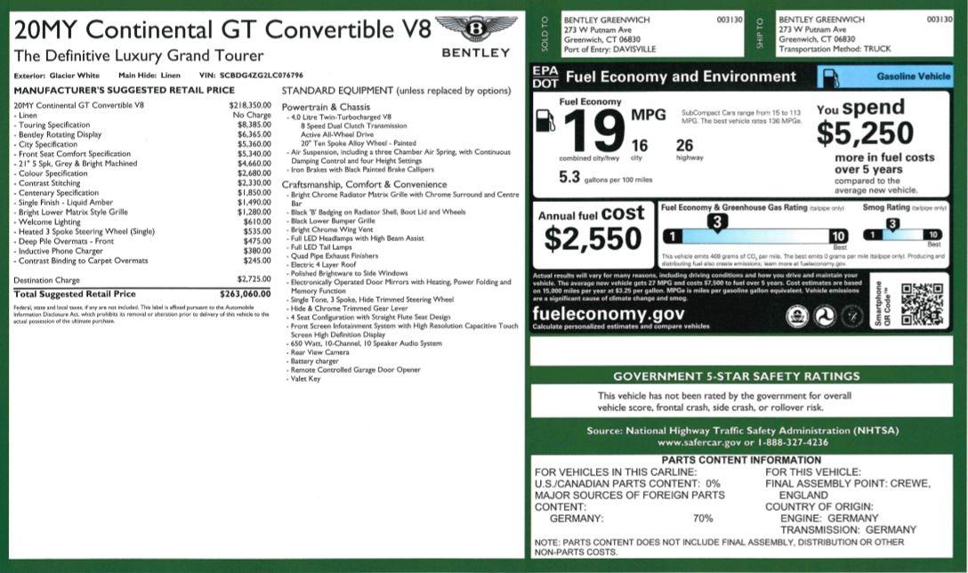 New 2020 Bentley Continental GTC V8 For Sale In Westport, CT 3516_p35