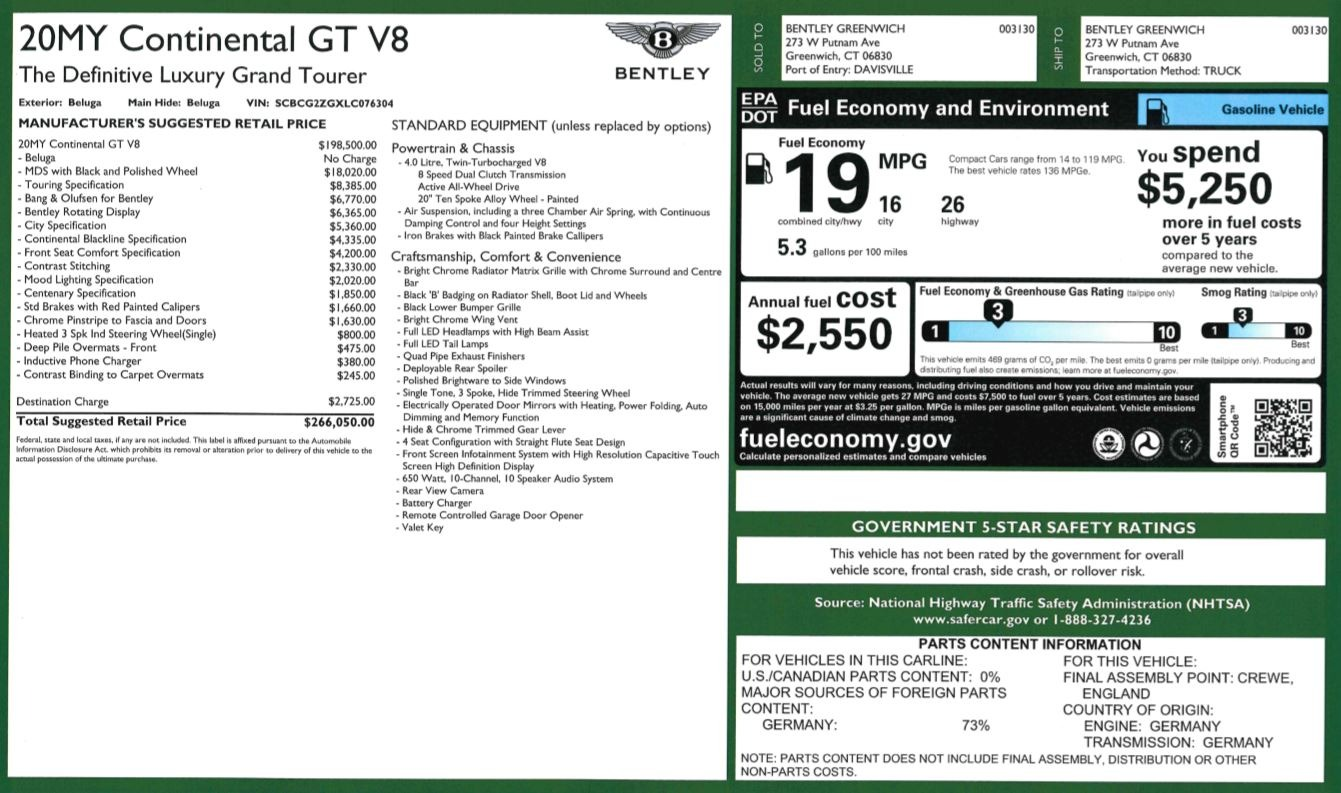 New 2020 Bentley Continental GT V8 For Sale In Westport, CT 3559_p32