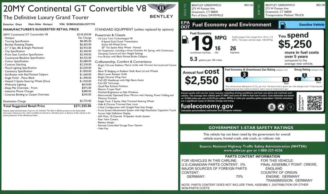 New 2020 Bentley Continental GTC V8 For Sale In Westport, CT 3575_p49