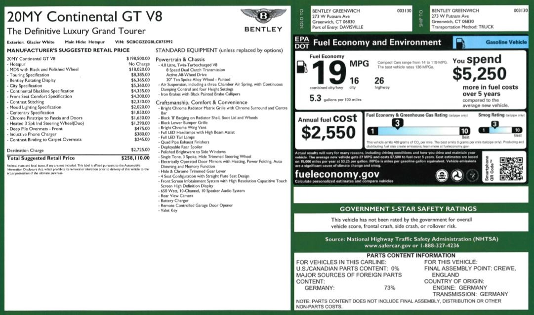 New 2020 Bentley Continental GT V8 For Sale In Westport, CT 3590_p36