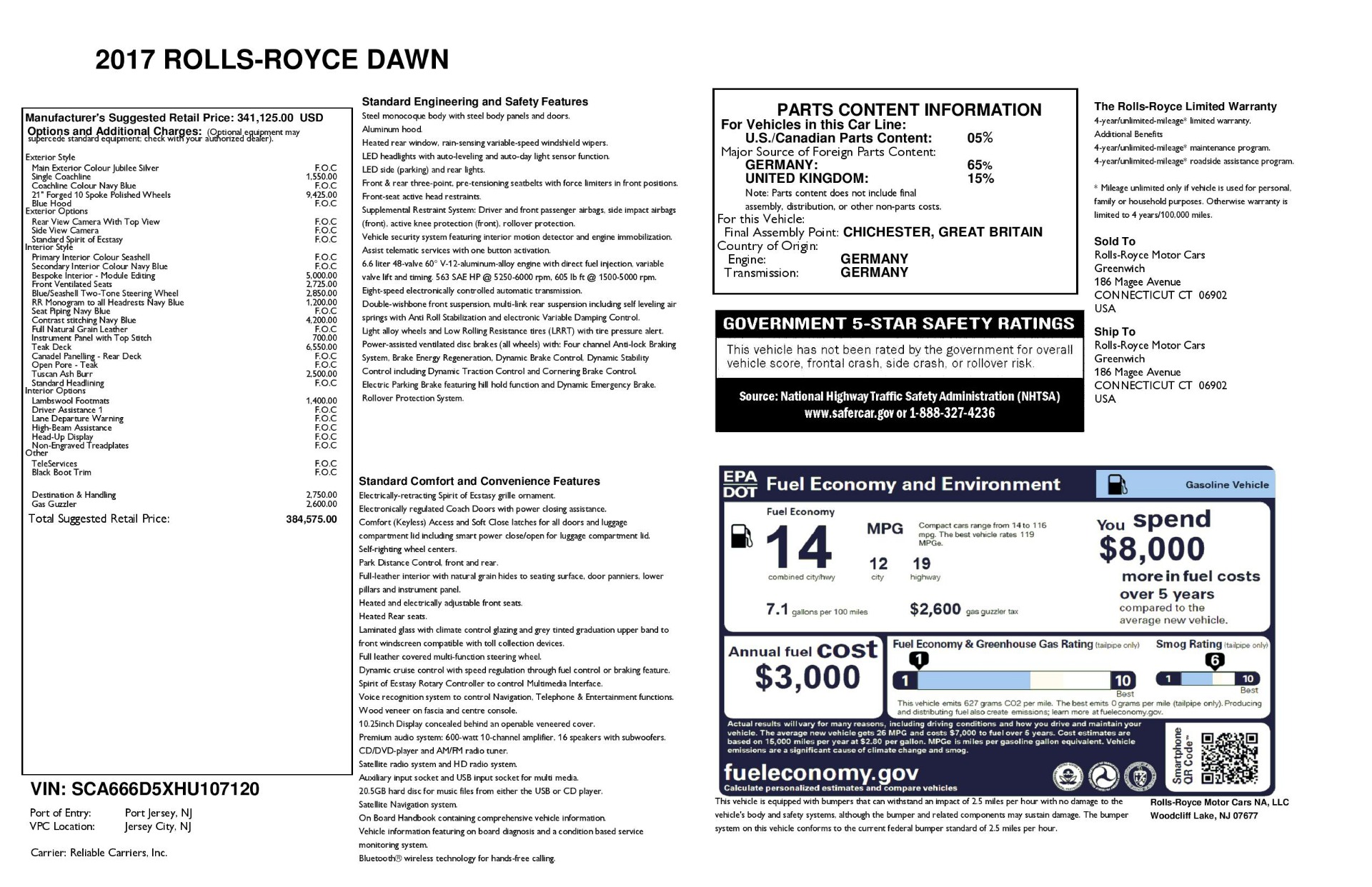 Used 2017 Rolls-Royce Dawn  For Sale In Westport, CT 940_p39