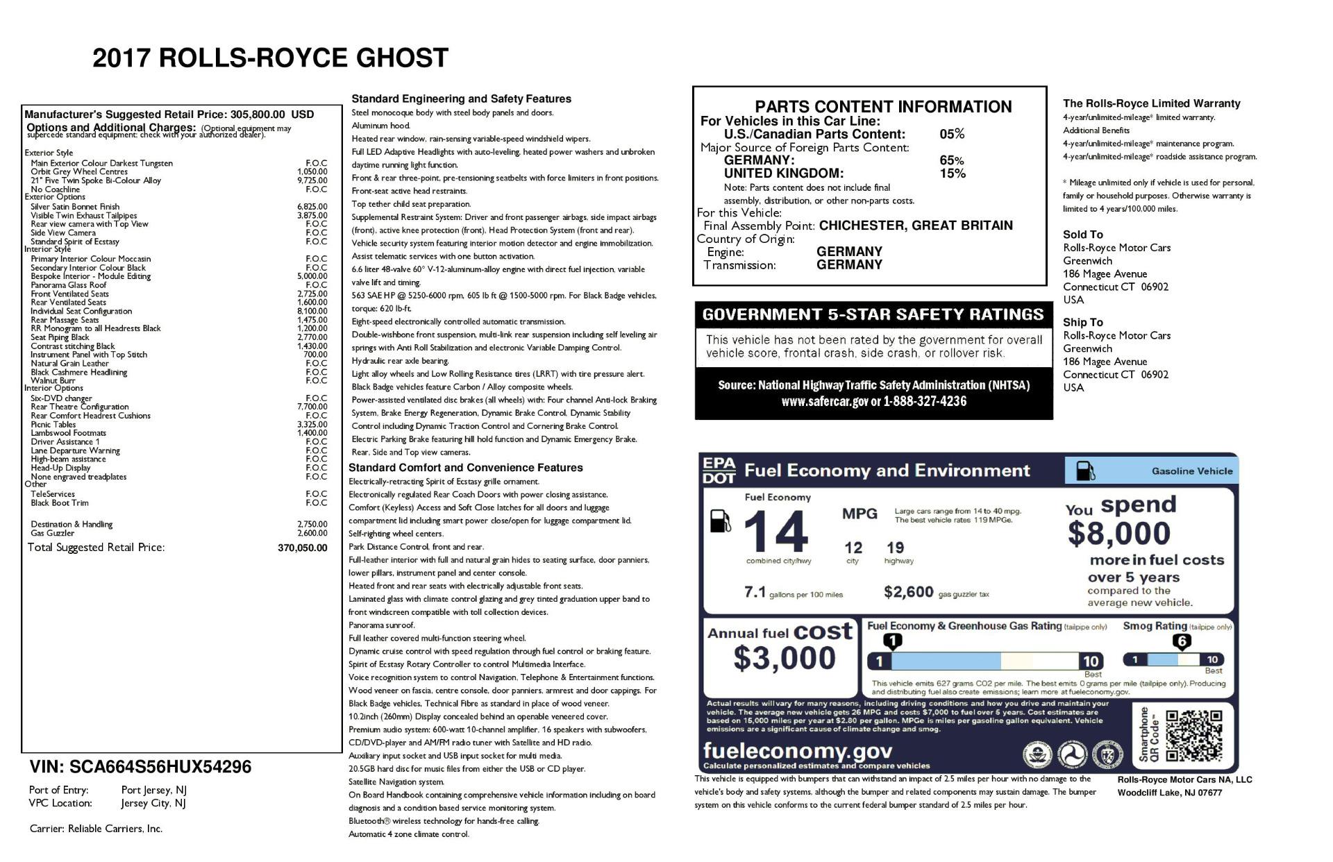 Used 2017 Rolls-Royce Ghost  For Sale In Westport, CT 954_p40