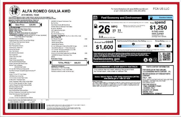 New 2018 Alfa Romeo Giulia Q4 for sale Sold at Alfa Romeo of Westport in Westport CT 06880 26