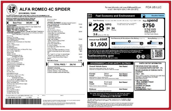 New 2018 Alfa Romeo 4C Spider for sale Sold at Alfa Romeo of Westport in Westport CT 06880 26