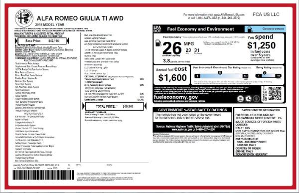 New 2018 Alfa Romeo Giulia Ti Q4 for sale Sold at Alfa Romeo of Westport in Westport CT 06880 26