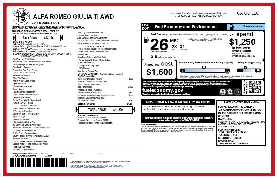 New 2018 Alfa Romeo Giulia Ti Q4 for sale Sold at Alfa Romeo of Westport in Westport CT 06880 1