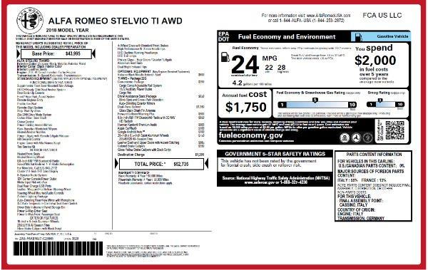 New 2018 Alfa Romeo Stelvio Ti Q4 for sale Sold at Alfa Romeo of Westport in Westport CT 06880 2