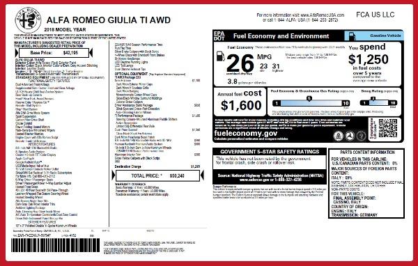 New 2018 Alfa Romeo Giulia Ti Q4 for sale Sold at Alfa Romeo of Westport in Westport CT 06880 2