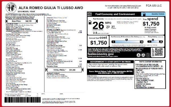 New 2019 Alfa Romeo Giulia Ti Lusso Q4 for sale $51,390 at Alfa Romeo of Westport in Westport CT 06880 2