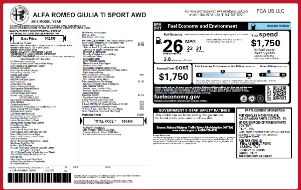 New 2019 Alfa Romeo Giulia Ti Sport Q4 for sale Sold at Alfa Romeo of Westport in Westport CT 06880 15