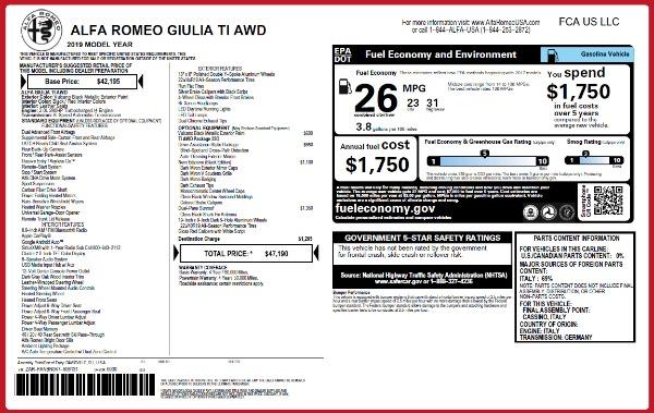 New 2019 Alfa Romeo Giulia Ti Q4 for sale Sold at Alfa Romeo of Westport in Westport CT 06880 2